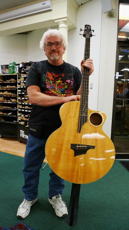 Taylor Ab 1 Fretted Electric Acoustic Bass In Stand Up Position With Added Leg 1 Guitar Acoustic Bass Upright Bass