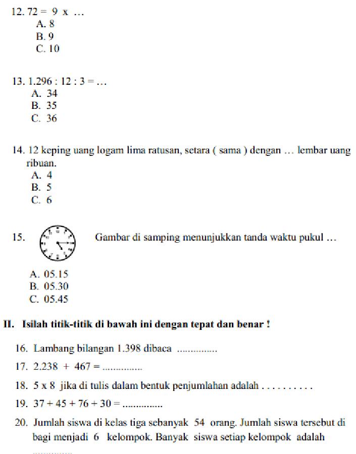 Soal Uts Matematika Kelas 6 Semester 1 Beserta Kunci Jawaban