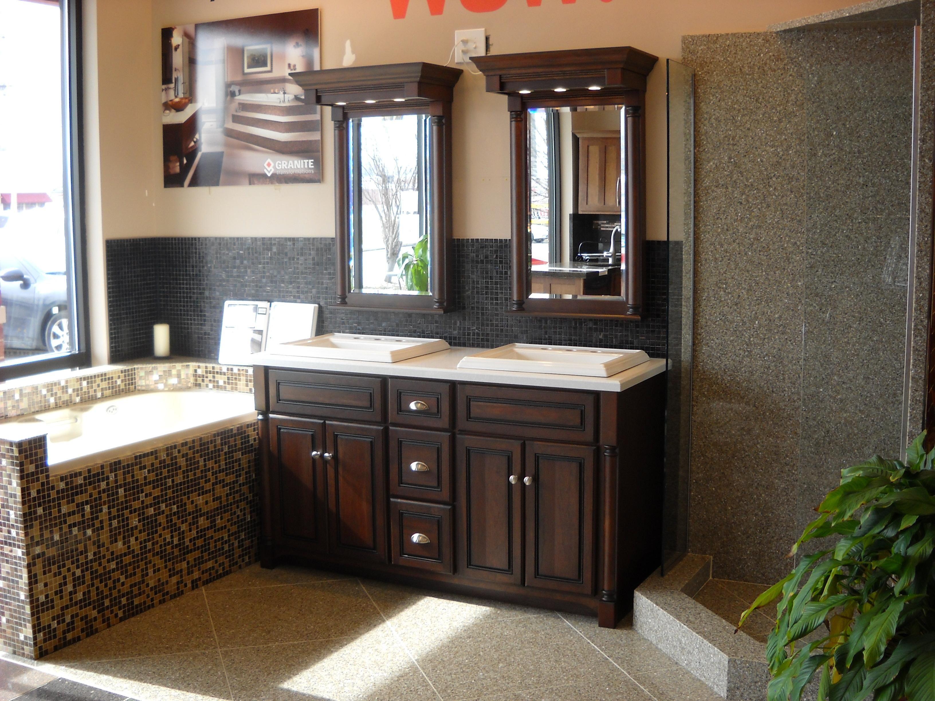 Interesting Transitional His Hers Bathroom Setup Bathroom Transformation Elegant Bathroom Granite Vanity Countertops