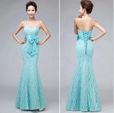 Fashion Sweetheart Strapless Lace Mermaid Long Green Mint Butterfly ...