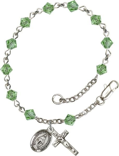 f18eea1a603c9 Sterling Silver Rosary Bracelet features 5mm Peridot Swarovski  Rundell-Shaped beads. The Crucifix measures 5 8 x 1 4. Each Rosary Bracelet  is presented in a ...