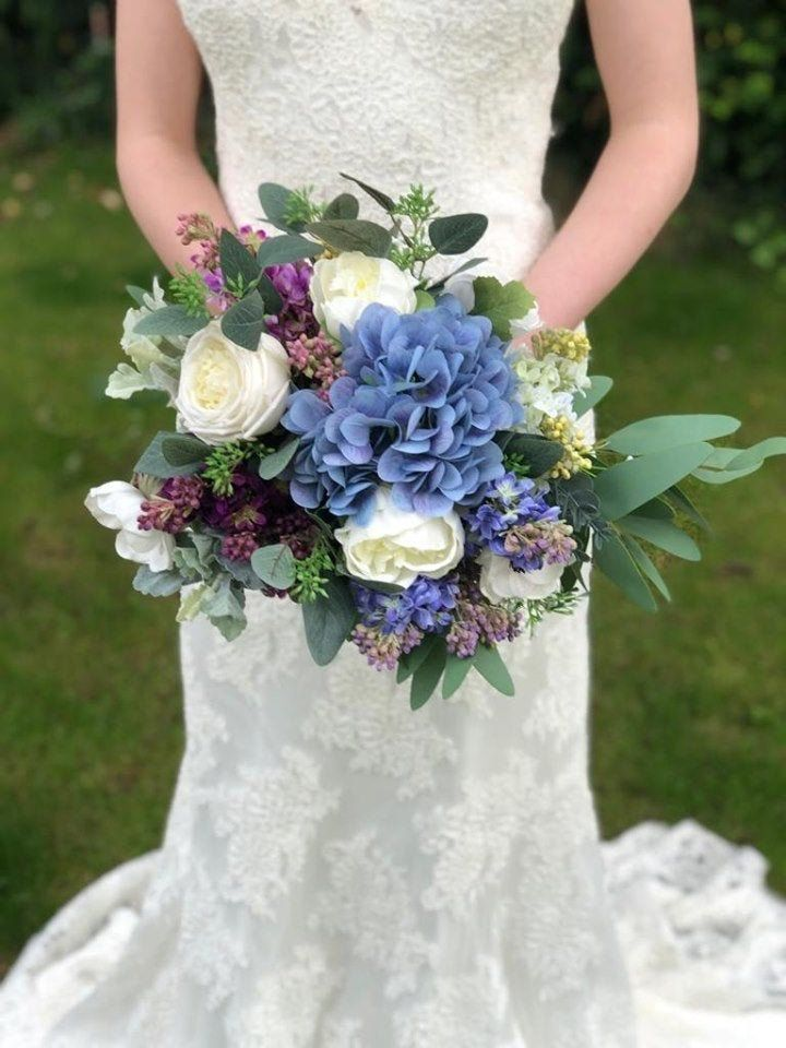 Real touch bridal bouquet artificial blue, purple wedding bouquet-white silk bridal bouquets-wildflower bridesmaid bouquet-Wedding bouquets #whitebridalbouquets