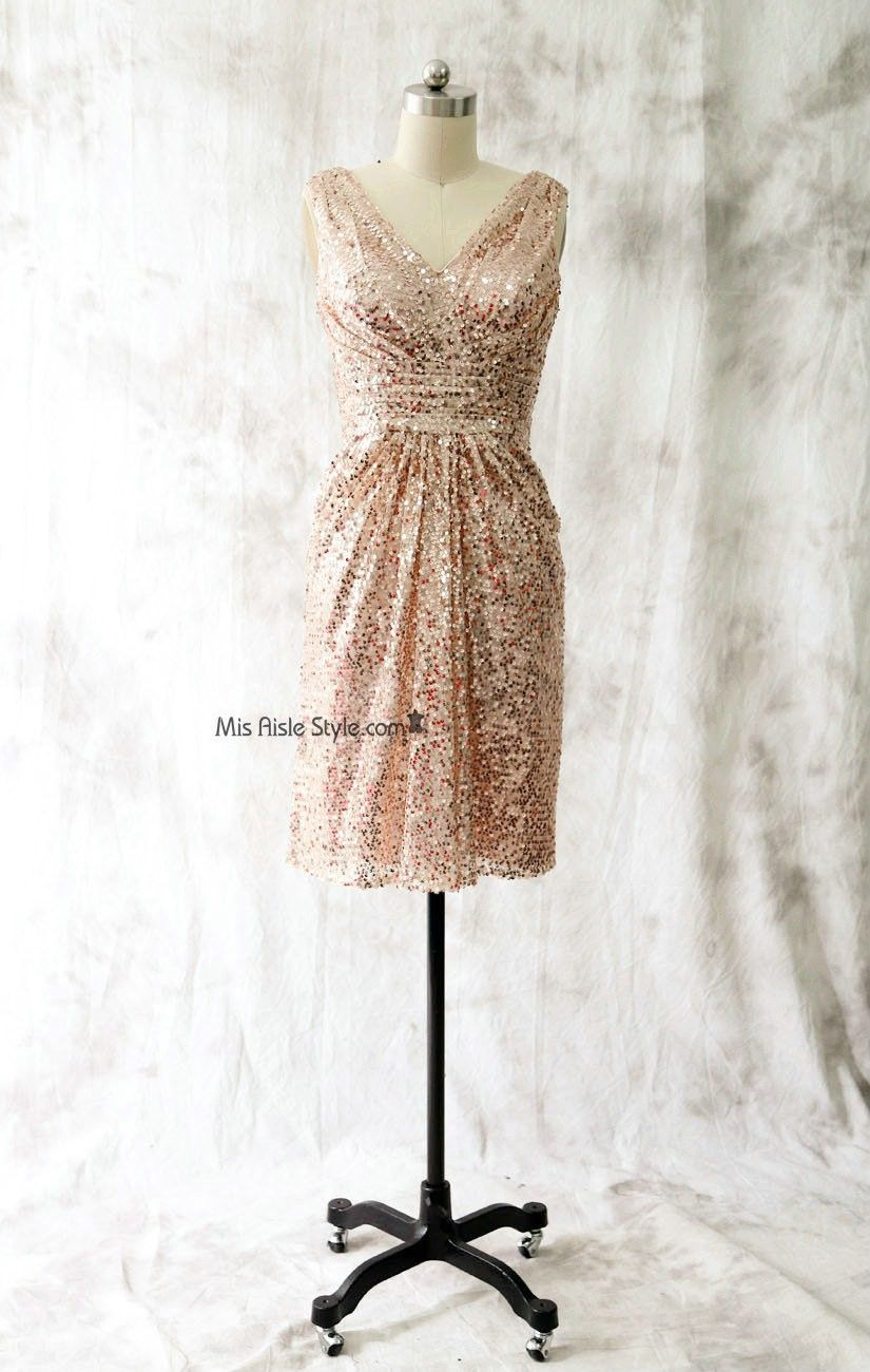 Short vneckline rose gold sequin bridesmaid dress bridesmaid