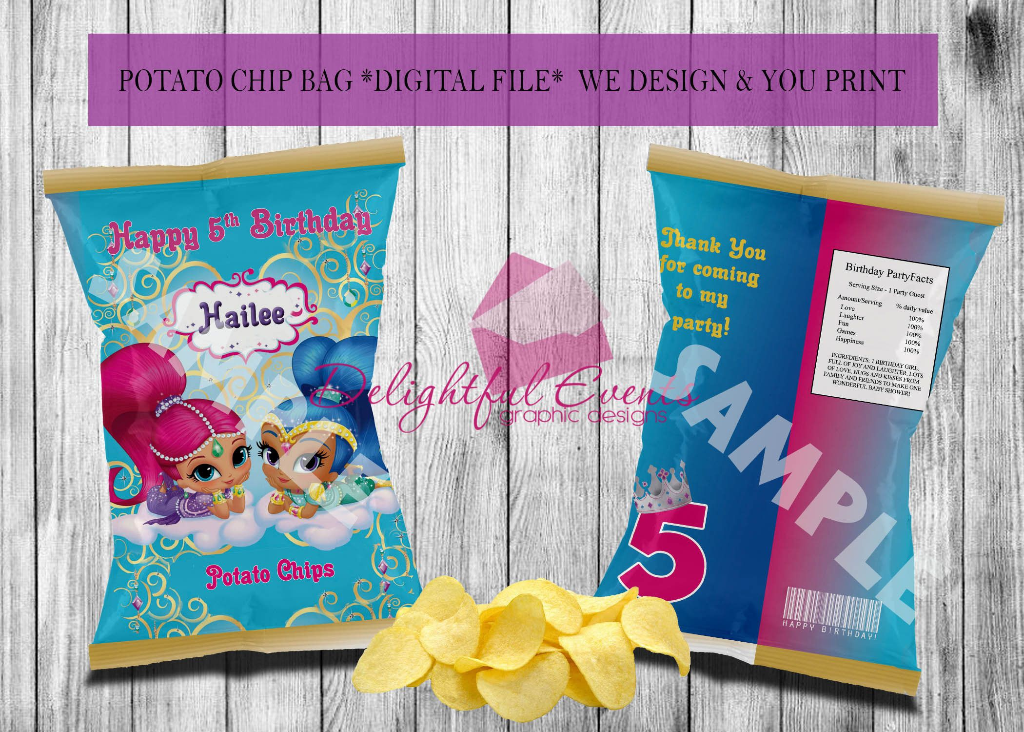 Shimmer And Shine Or Baby Shower Custom Printable Chip Treat Snack