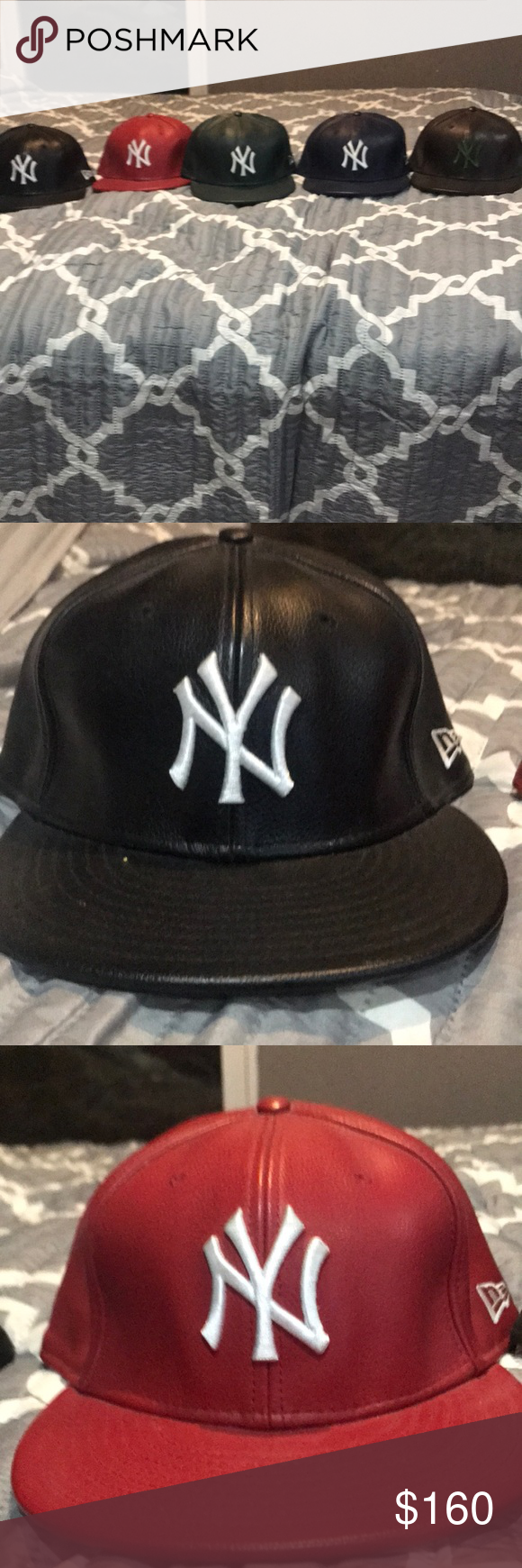 33a17b3ef06 Lot Leather NY Yankee Lot Bl R G 7 3 4 B Br 7 5 8 Lot Of Gently Used Leather  New York Yankee Hats Black Red Green Size 7 3 4 Navy Blue Brown Green 7 5 8  New ...
