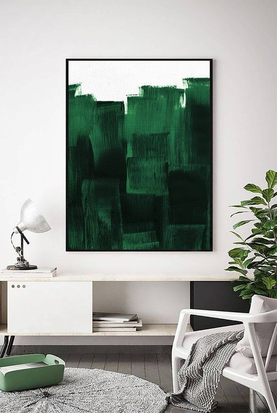 Forest Green Print | Dark Green Decor | Dark Green Painting | Contemporary Print | Green Art ...