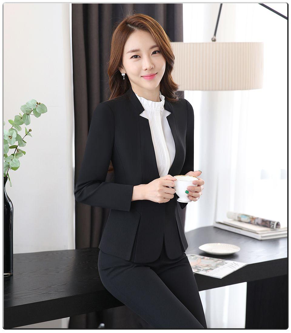 88c8fd7c8fe7 Spring Autumn Two pieces Suits Ladies Formal Skirt Suit Office Uniform  Style Female Business Suit For Work Blue Women Blazer Set - Teepair
