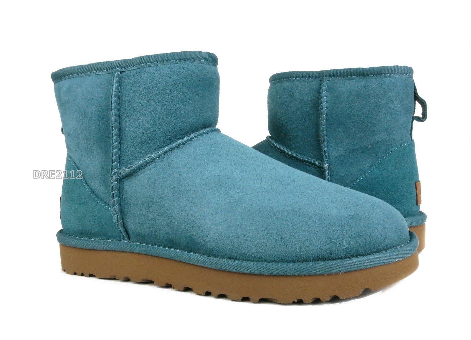 d9a0de564ae 92.36   UGG Classic Mini II Cascade Blue Suede Fur Boots Womens Size ...