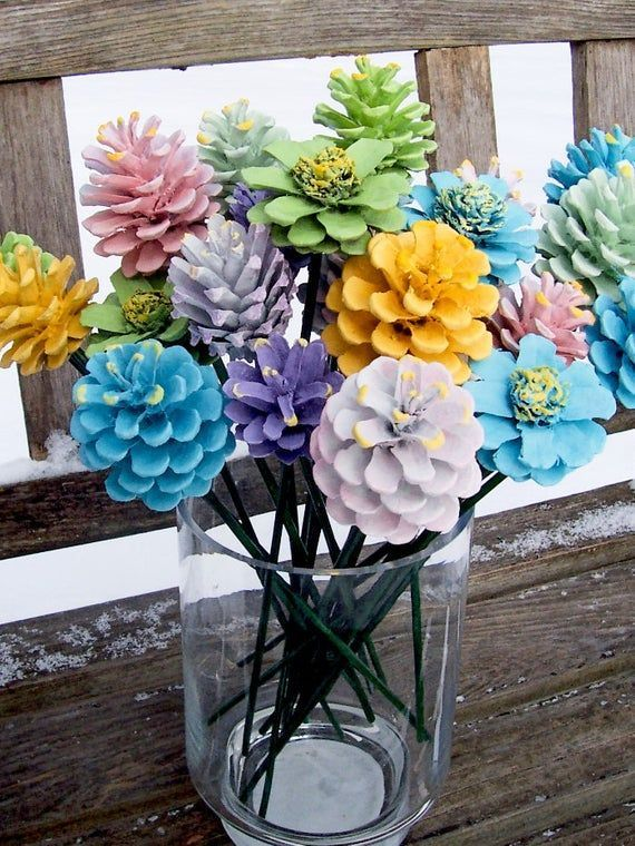 Pine Cone Flowers, ORIGINAL, Spring. Painted Pine Cones on 12-inch Wood Stems. One dozen. Mother'