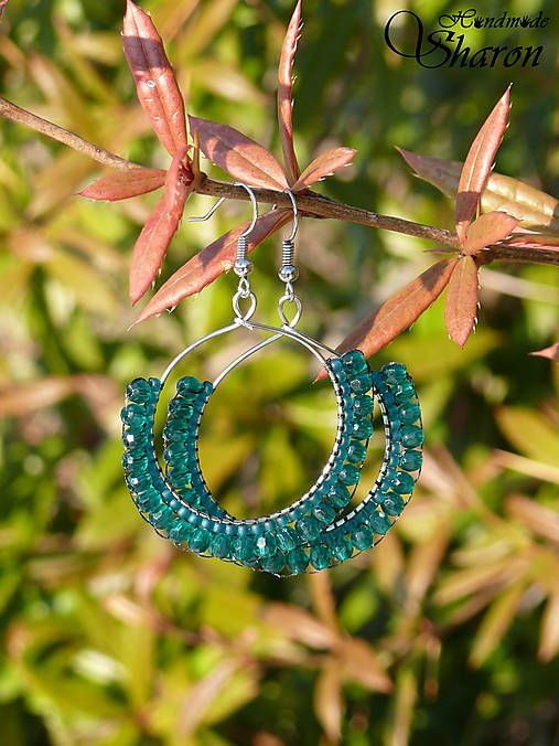 Sharon.handmade / Smaragdová čipka lace hoop earrings with bead embroidery, emerald green handmade jewellery