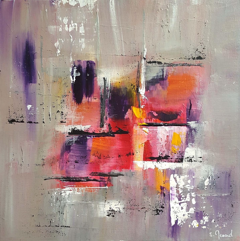 Peinture moderne acrylique violet gris jaune rouge orange for Art moderne peinture