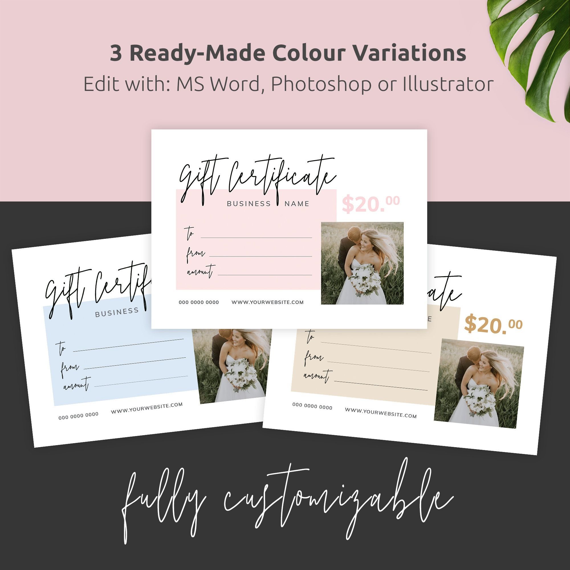 Photography Gift Certificate Gift Certificate Template Editable