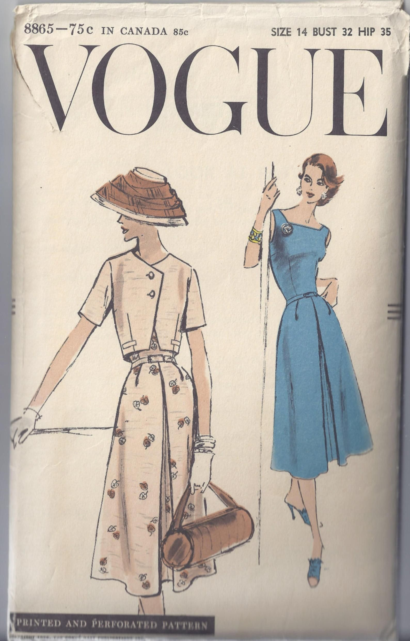 Vogue Sewing Pattern 8865 From 1956 Misses Sleeveless Dress