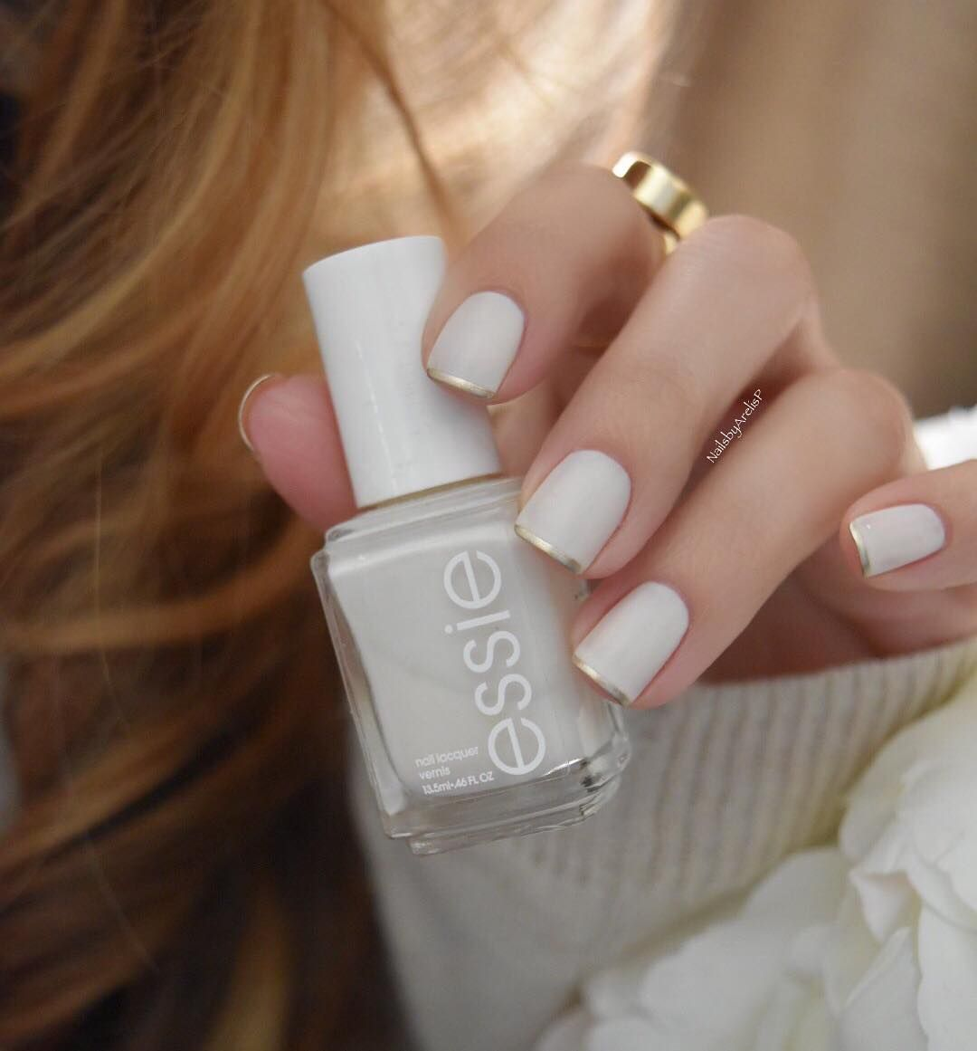 On the nails @essiepolish Marshmallow (3 thin coats) topped it with ...