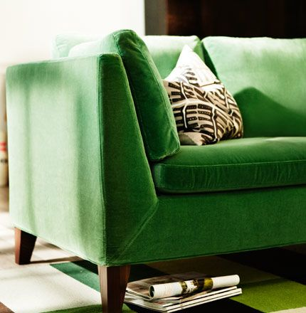 Stockholm Three Seat Sofa In Sandbacka Green Velvet On Flatwoven Rug By Ikea