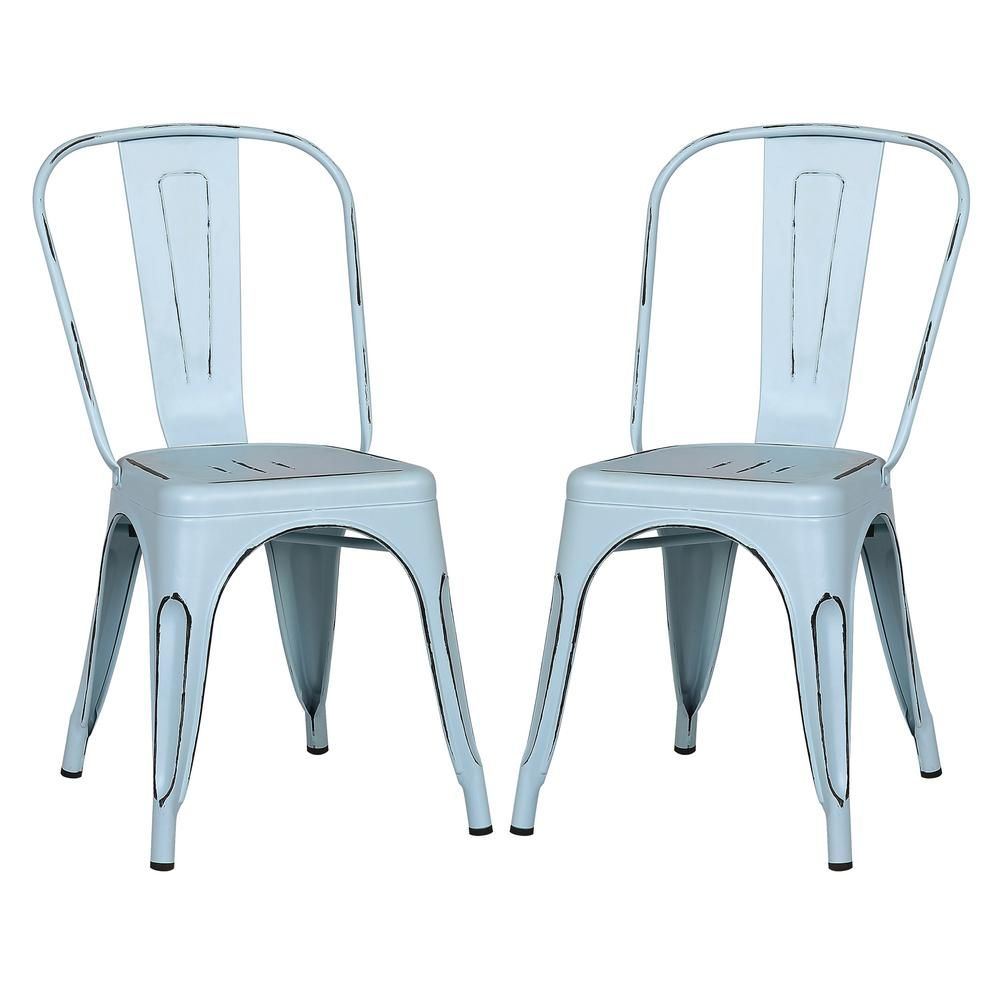 Awesome Poly And Bark Trattoria Distressed Blue Side Chair Set Of 2 Bralicious Painted Fabric Chair Ideas Braliciousco