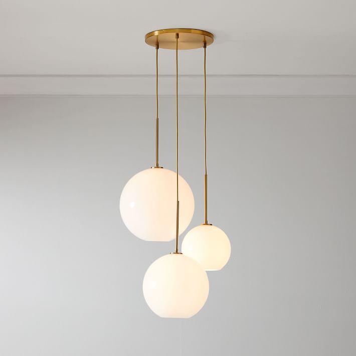 Sculptural Glass 3 Light Globe Chandelier Milk In 2020 Globe Chandelier Glass Globe Chandelier Globe Lights