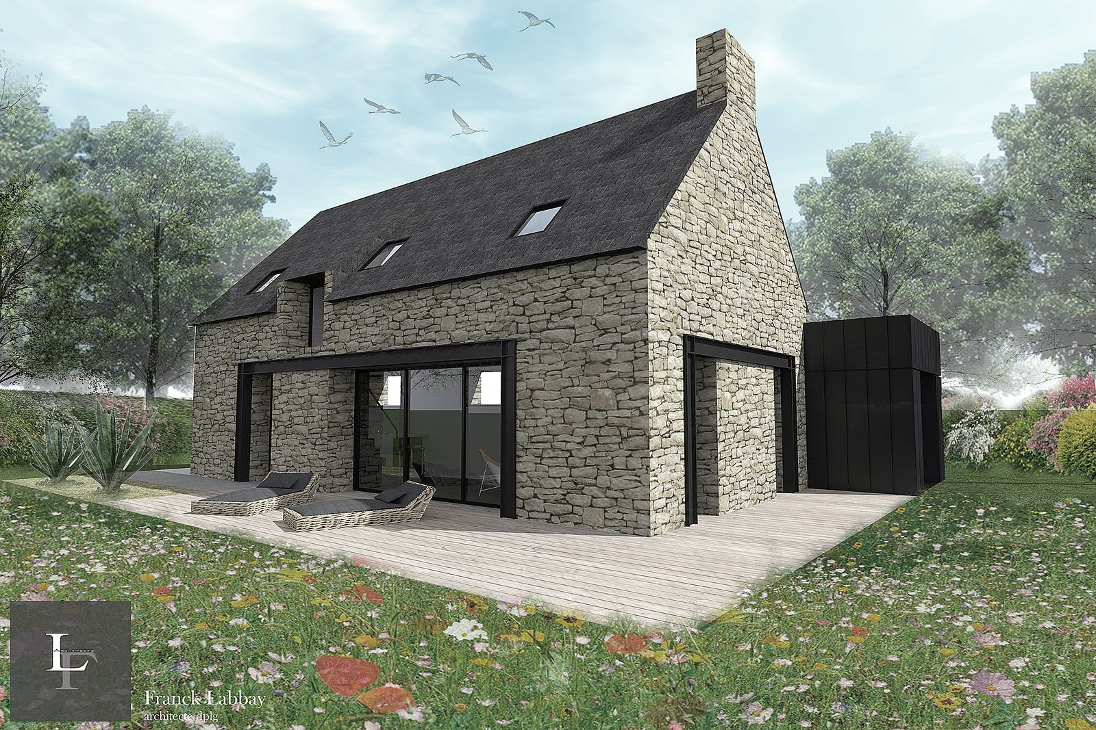 Maison j r novation d 39 une grange plouhinec morbihan for Recours architecte extension garage