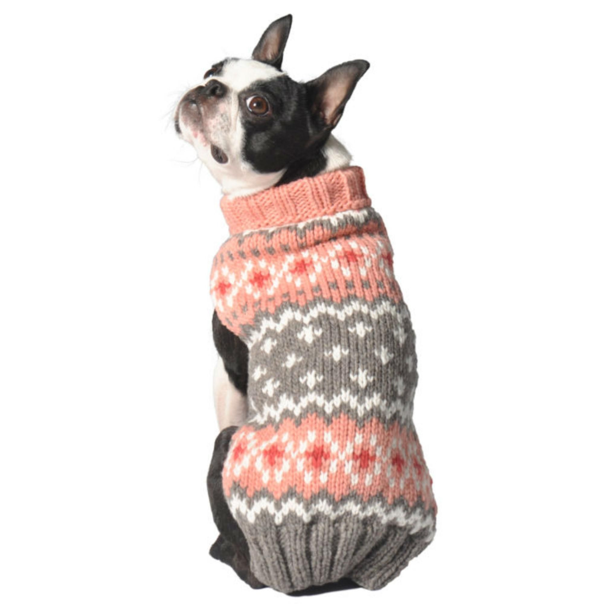 Handmade Fairisle Wool Dog Sweater Peach Chilly Dogs Tough