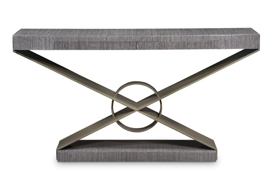 Grey Oak Console Table With Metal Base At Bolier By Decca