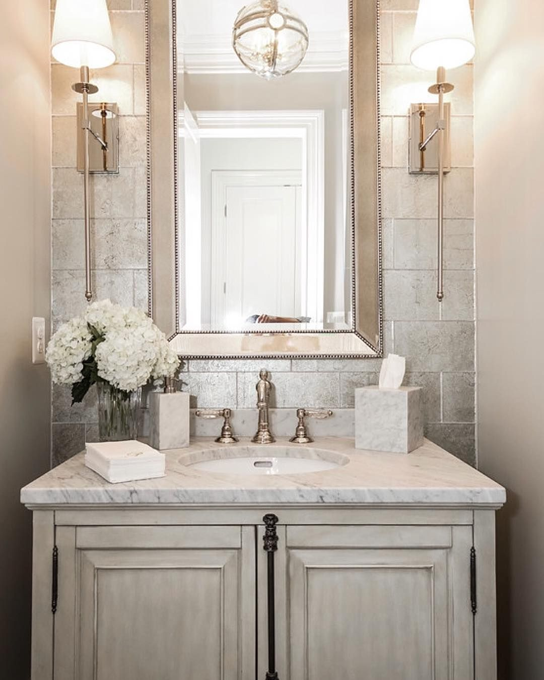 Sets bathroom vanity ari kitchen second - Such An Elegant Powder Room By Castlwood Custom Builders