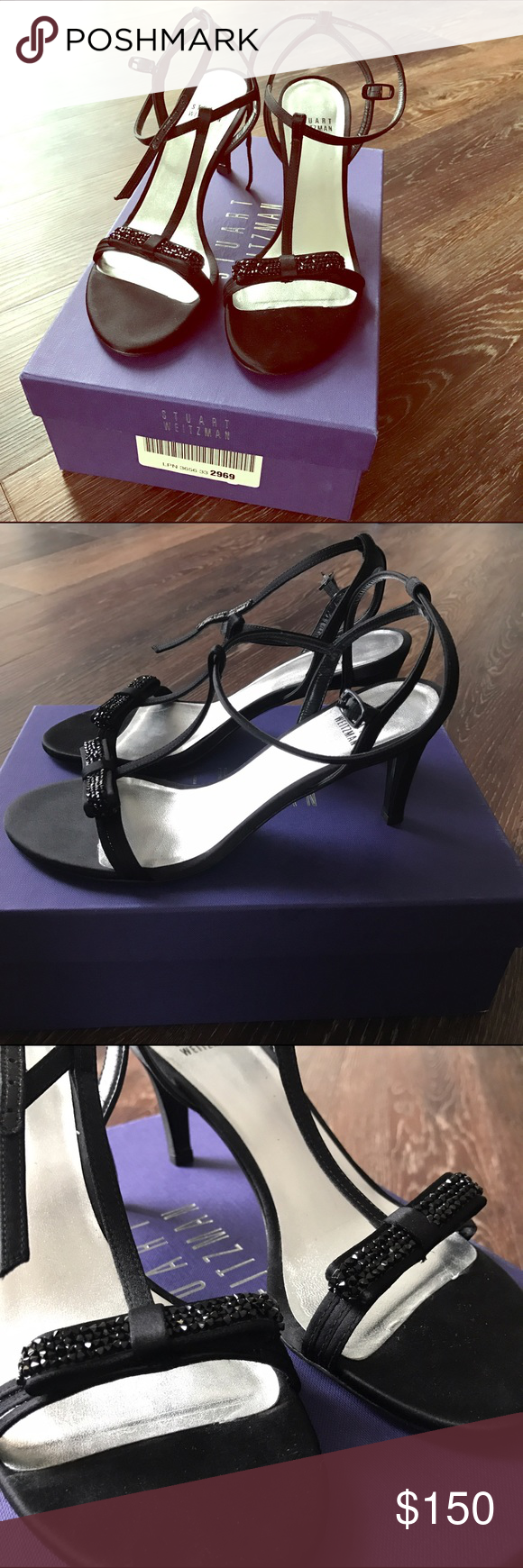 Stuart Weitzman Zesty Black Satin Heels size 7 NEW These beauties are perfect for events. Only worn once- in excellent condition. Black satin with gorgeous beaded sequins. They fit a narrow foot. Absolutely adorable. A classic. Stuart Weitzman Shoes Heels