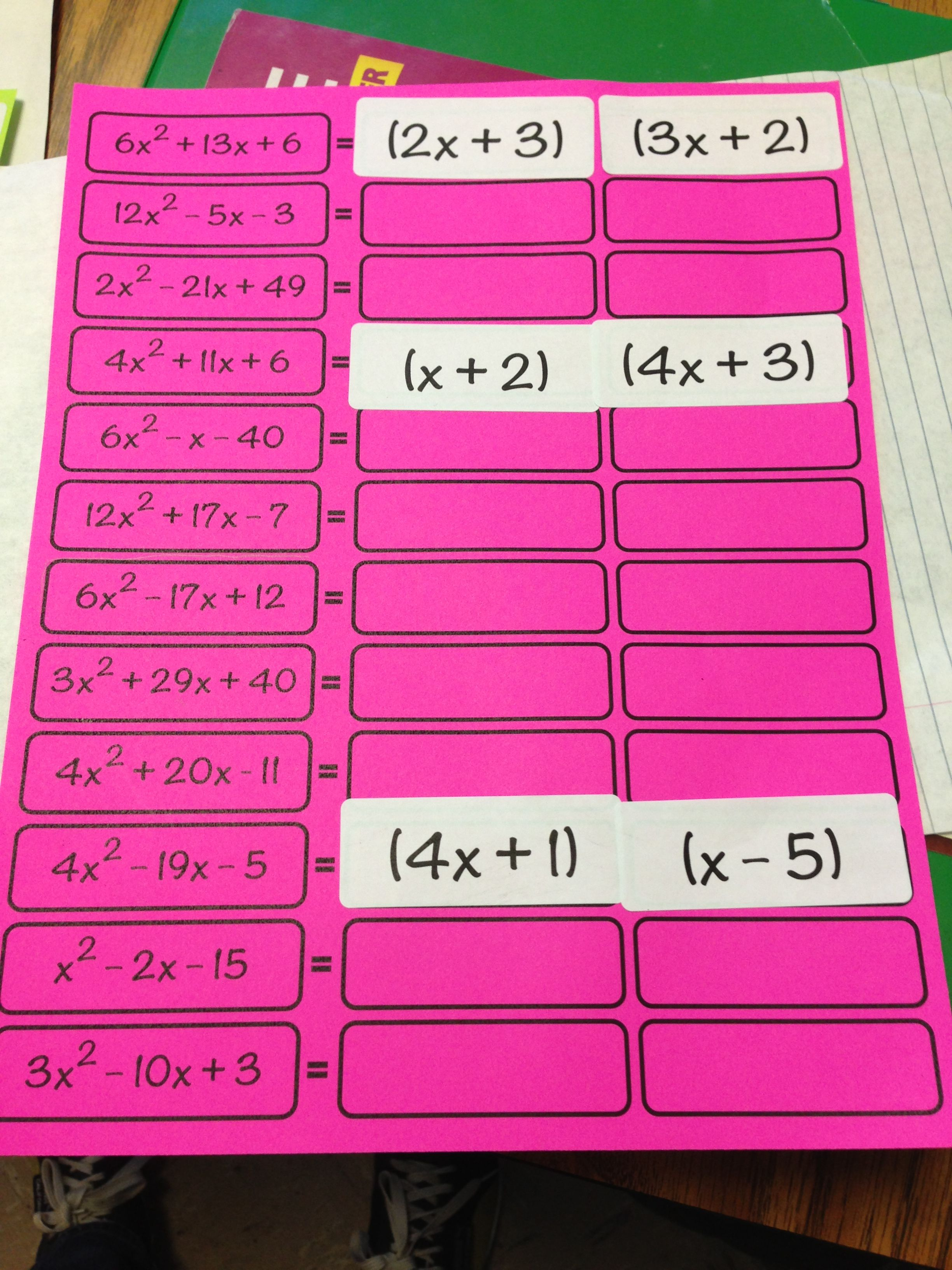 Made4math Factoring Activity With Labels