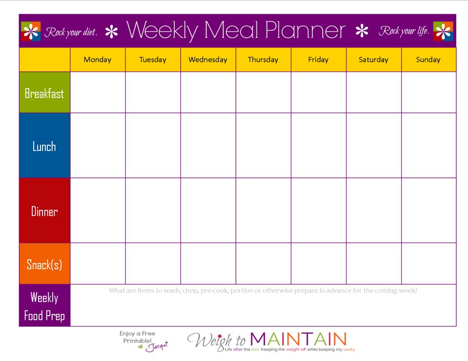 Intrepid image inside printable diet planner