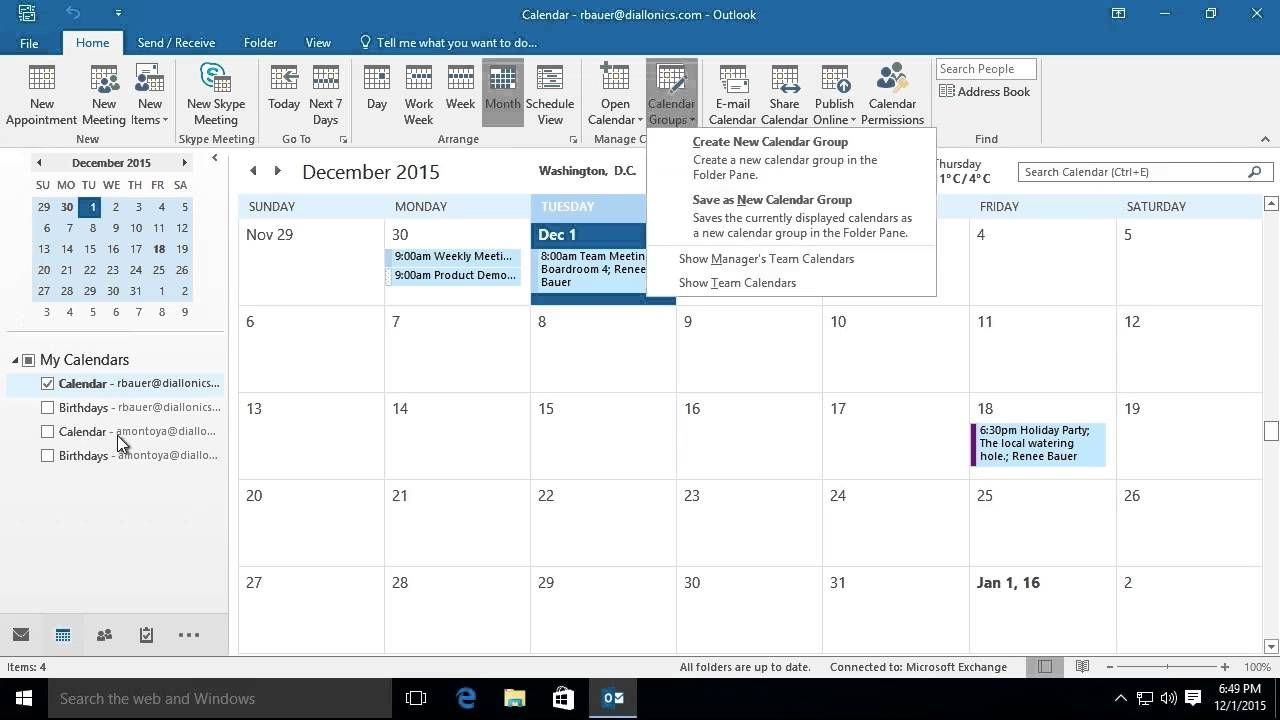 microsoft outlook 2016 viewing and using multiple calendars in outlook