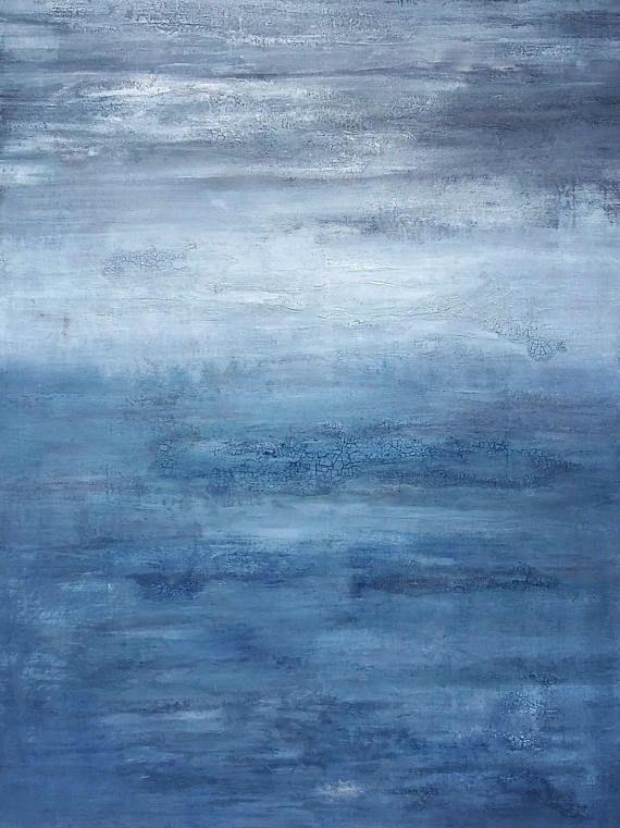 original abstract ocean painting  30 x 40 large indigo