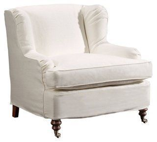 Taylor Linen Club Chair, Ivory