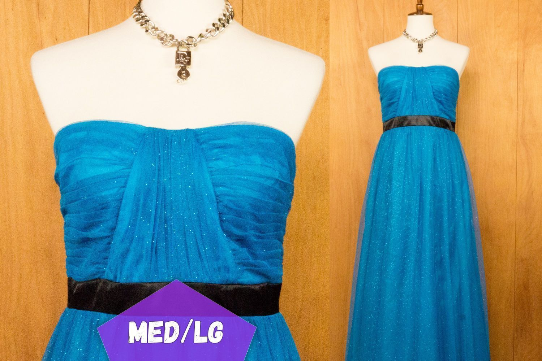 S cinderella blue formal evening gown prom dress medium large