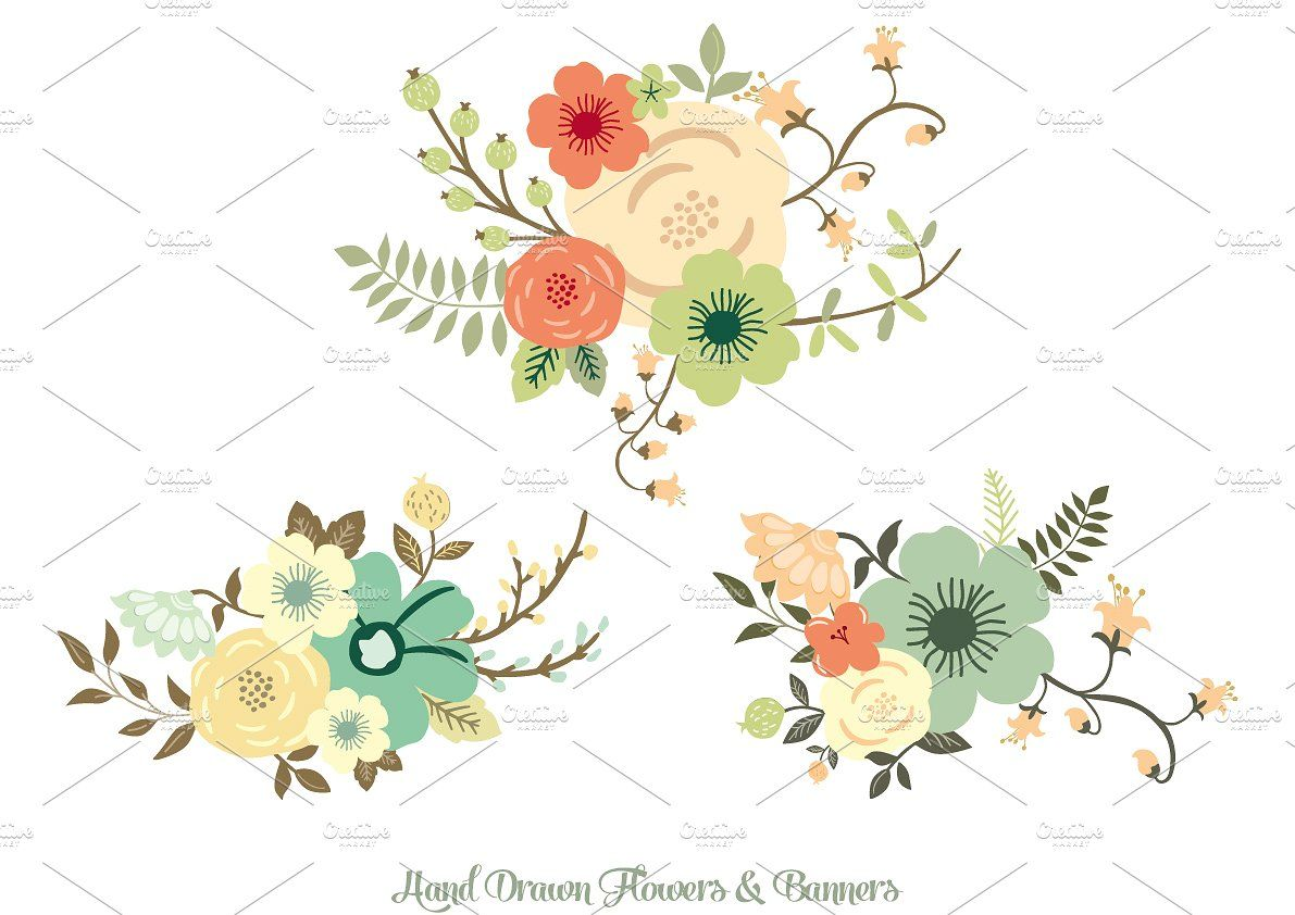Hand Drawn Flowers & Banners by Delagrafica on @creativemarket