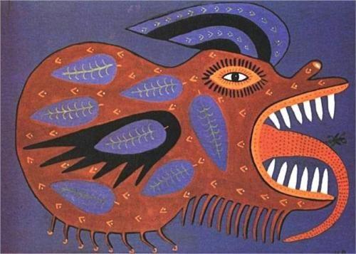 The threat of War - Maria Pryimachenko, 1986