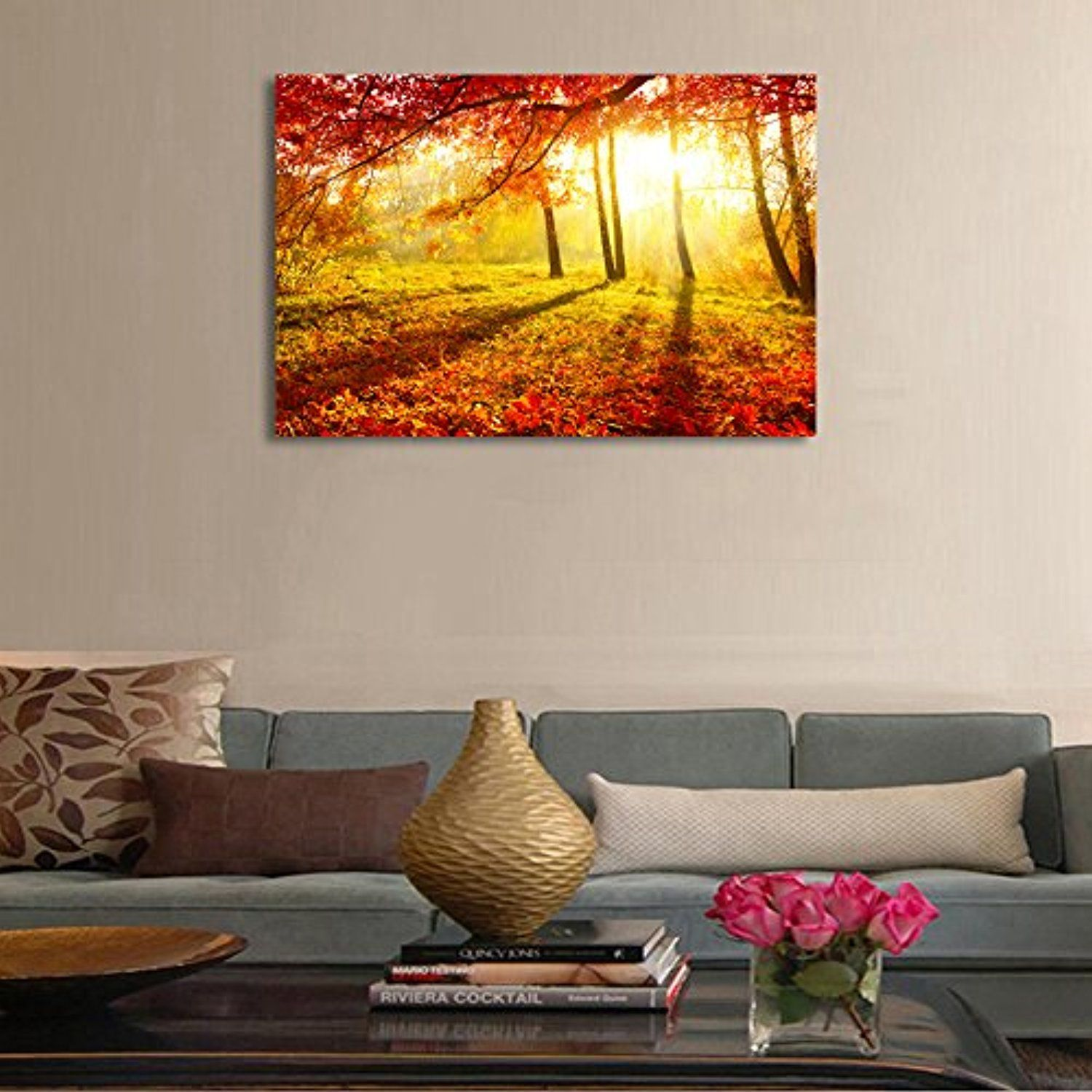 Large art prints Home Decor Canvas Painting Wall Art Red autumn scenery