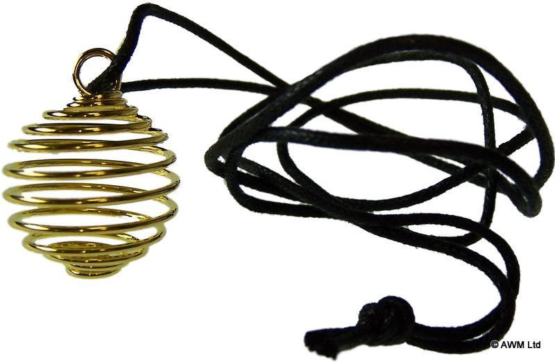 Gold Metal-Plated 12mm x 25mm Spiral Cage Pendant