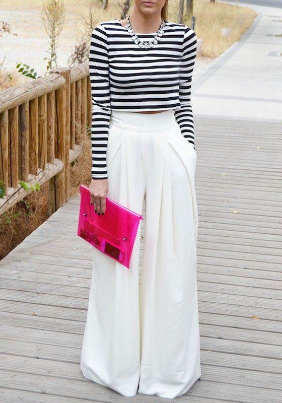 d84e7ded92f White Plain Pleated Palazzo Trousers Elastic Waist High Waisted Wide Leg  Loose-fitting Fashion Long Pants