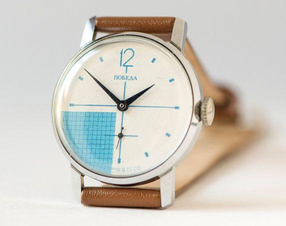 Men's watch Pobeda modern Soviet wrist watch by SovietEra on Etsy, $67.00