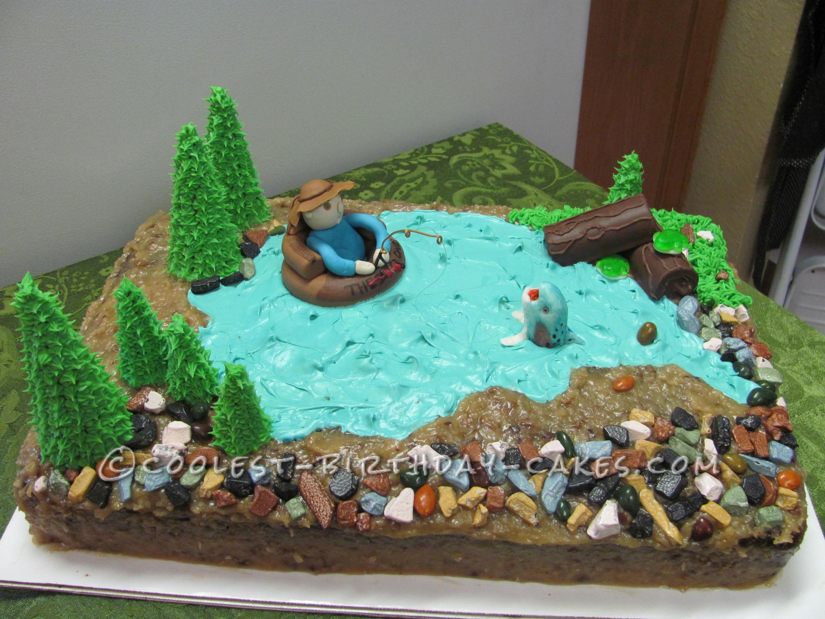 Float tube fishing cake fishing cakes birthday cakes for Fishing cake ideas