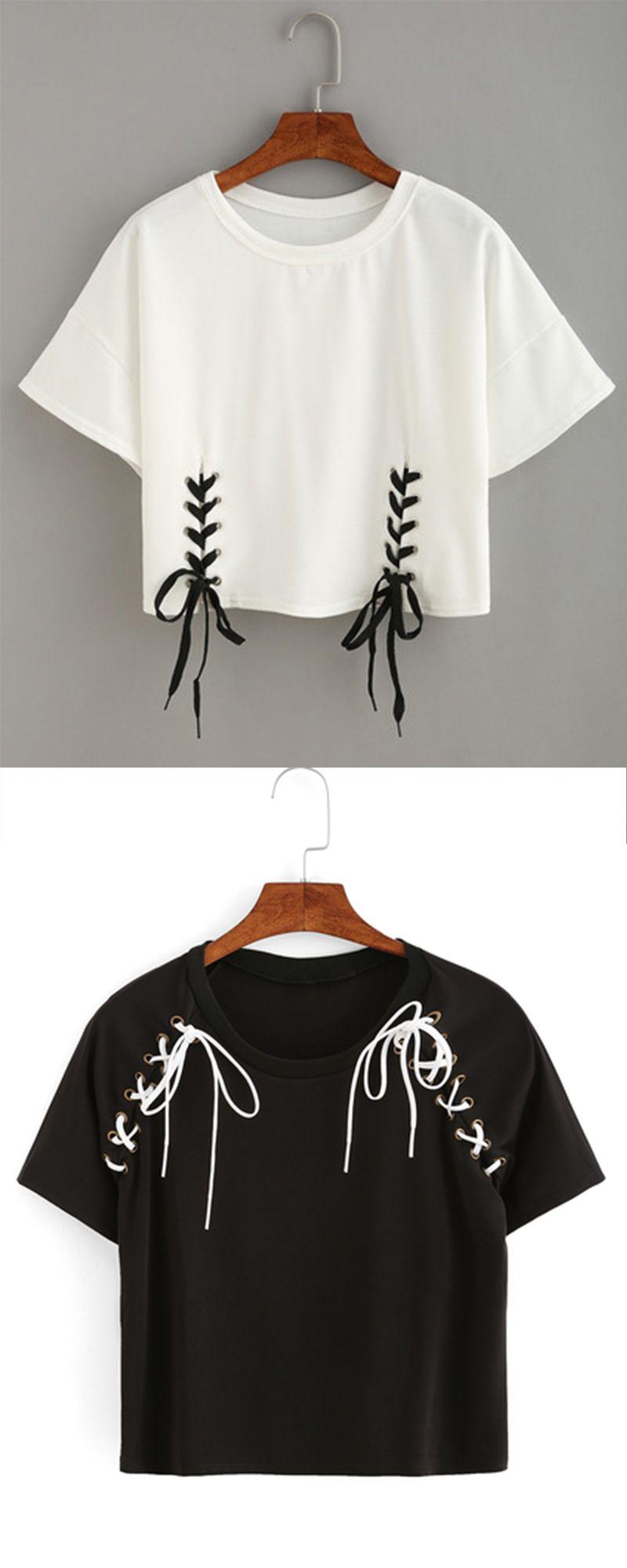 fab111566a2 Double Lace-Up Hem Crop T-shirt More