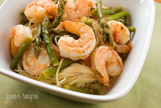 Angel Hair with Shrimp and Asparagus - #pasta #shrimp #asparagus