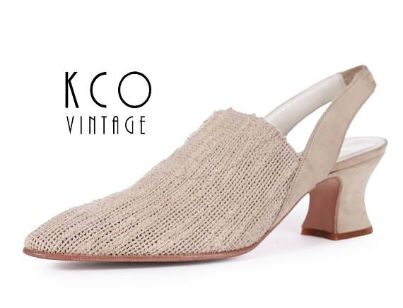 25bba667351 90s vintage beige slingback mules. • Woven stretchy elastic textured  uppers. • Butter soft suede ankle strap with elastic at back. • Suede  wrapped mid high ...