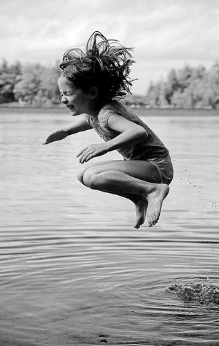 I love this. To me it represents a leap of faith. This little girl is giving it everything she has. Her courage has inspired me to try this again throughout the summer.