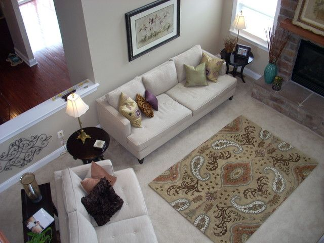 Use a rug with colors and patterns over a neutral carpet - Neutral carpet colors for bedrooms ...