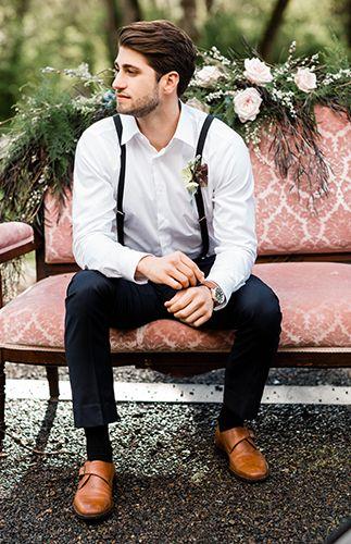 Casual groom attire for wedding | Moody Berry & Blue Wedding Inspiration via @IBTblog, pics by Monique Serra