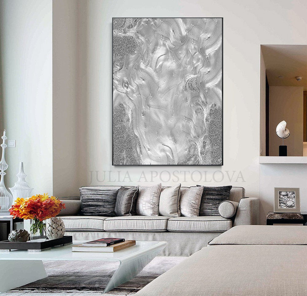 Grey Wall Art Silver Embellished Grey Canvas With Metallic Etsy Grey Wall Art Minimalist Wall Art Minimalist Watercolor