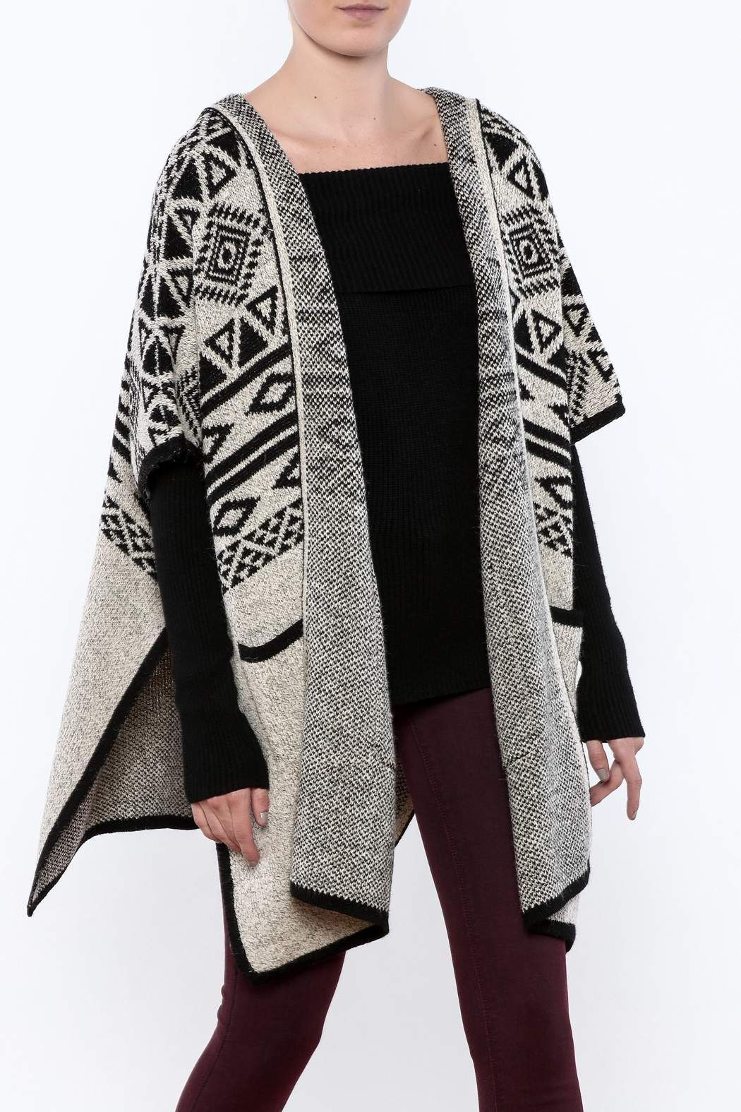 Charlie Paige Hooded Tribal Wrap | Knit wrap, Wraps and Hoods