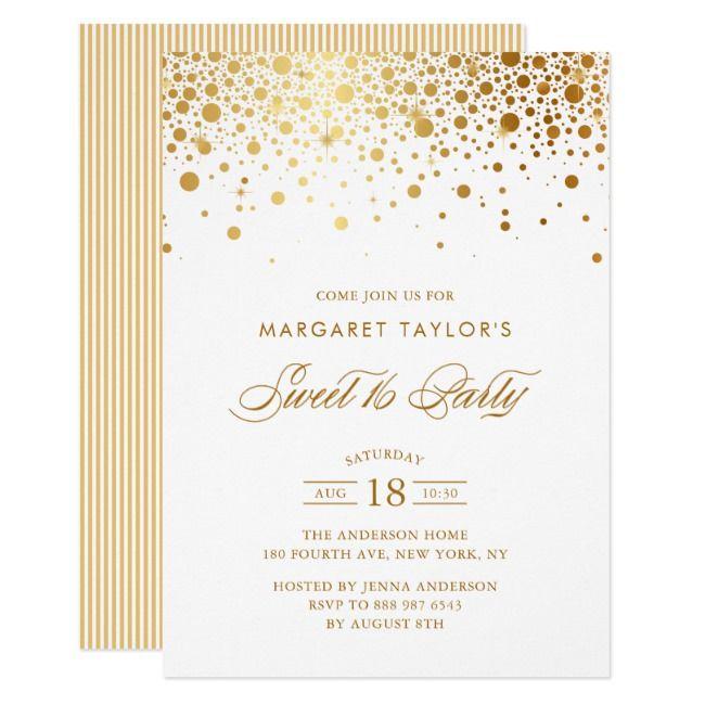 Faux Gold Foil Confetti Drop Sweet 16 Party Invitation |  Faux Gold Foil Confetti Drop Sweet 16 Party Invitation ,