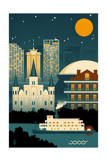 New Orleans Louisiana Retro Skyline No Text Posters By Lantern Press With Images Text Art New Orleans Posters Art Prints