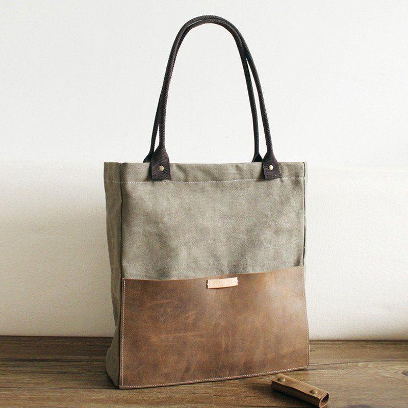4ca259b743e1 Handcrafted Canvas and Leather Casual Tote Bag Shopper Bag Handbag Shoulder  Bag 14051 - LISABAG -